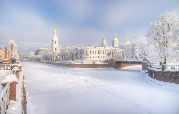 Picture winter, snow, bridge, the city, Church, Gordeev Edward