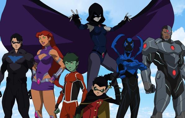 Picture team, heroes, team, Robin, Cyborg, Cyborg, Robin, Nightwing, Raven, Nightwing, Blue Beetle, Beast Boy, Starfire, …