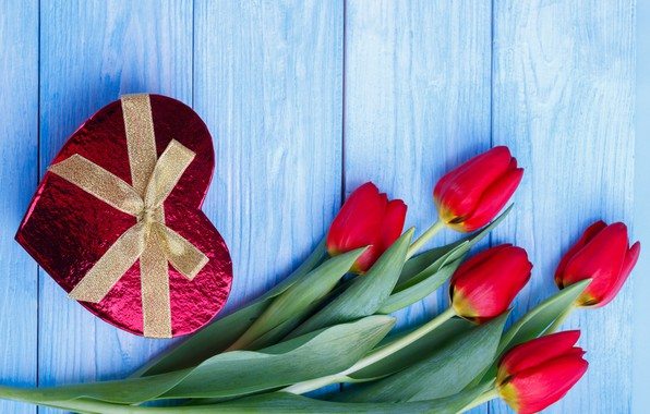 Picture flowers, gift, heart, candy, tulips, red, red, heart, flowers, romantic, tulips, chocolate, valentine's day, gift …