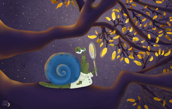 Picture animals, yellow, art, leaves, painting, funny, digital art, branches, illustration, magnifier, snail, magnifying glass, 4k …