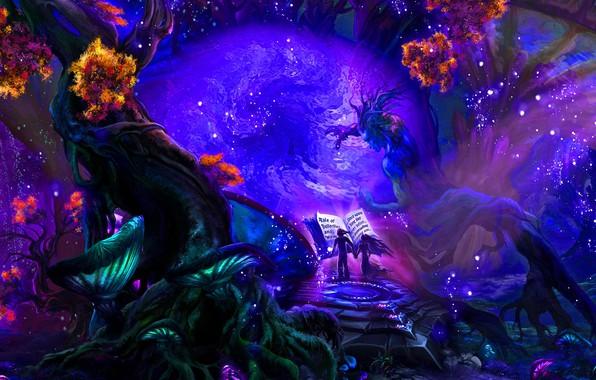 Picture bright colors, trees, magic, mushrooms, haze, book, magic, miracles, trees, book, mushrooms, fantasy art, boy …