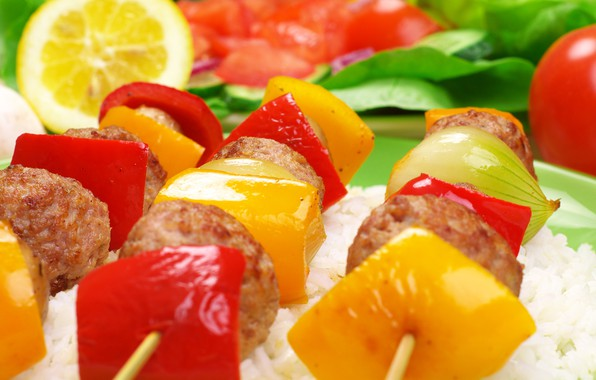 Picture macro, meat, kebab, portion