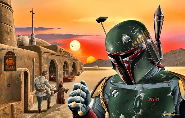 Picture Star Wars, Boba Fett, the bounty hunter, Tatooine, Java