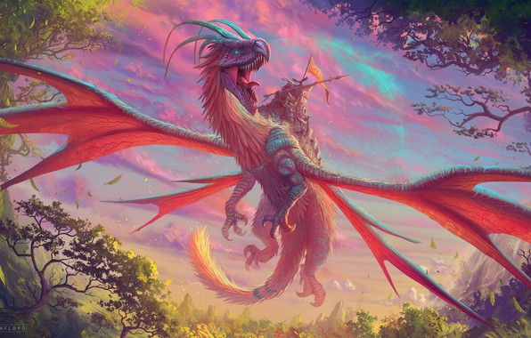 Picture colorful, moon, fantasy, horns, trees, weapon, nature, wings, planet, dragon, artist, digital art, artwork, warrior, …