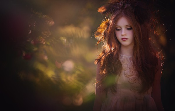 Picture feathers, makeup, dress, girl, red, bokeh, teen, Amber Bauerle