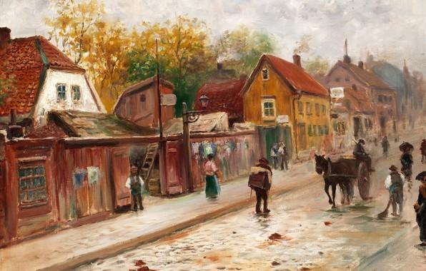 Picture Swedish artist, Swedish painter, Old Stockholm Norrlandsgatan, Frans Wilhelm Odelmark, Franz Wilhelm Delmark, Old Stockholm …
