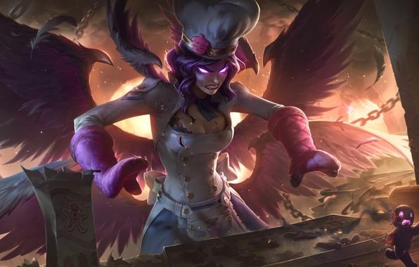 Picture fire, girl, fantasy, game, wings, angel, League of Legends, digital art, artwork, dark angel, fantasy …