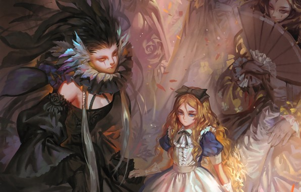 Picture ladies, fan, neckline, gloves, black dress, bow, redhead, long hair, art, Alice, alice in wonderland, …