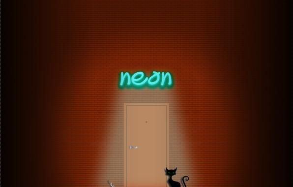 Picture cat, cat, wall, smoke, neon, cigarette, brick wall