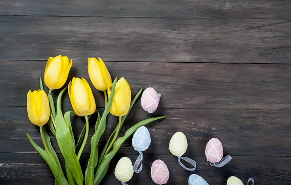 Picture flowers, eggs, bouquet, Easter, tulips, happy, yellow, wood, flowers, tulips, Easter, eggs, decoration