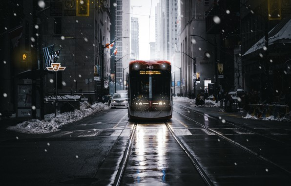 Picture the city, street, tram