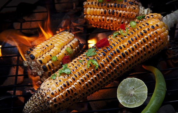 Picture corn, lime, pepper, grill