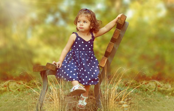 Picture greens, summer, grass, rays, nature, girl, baby, child, bench, curls, sundress, sandals, Ahmed Hanjoul