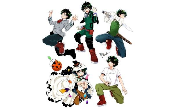 Picture costume, white background, form, guy, poses, Boku no Hero Academy, Midori Isuku, My heroic academia, …