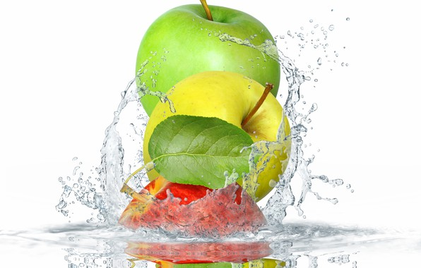 Picture leaves, water, squirt, apples