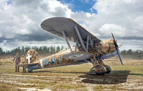 Picture war, art, airplane, aviation, ww2, FIAT CR.42