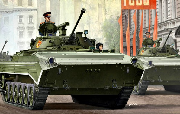 """Picture USSR, BMP-2, Parade, ATRA, The Soviet Army, Crawler, """"The bassoon"""""""