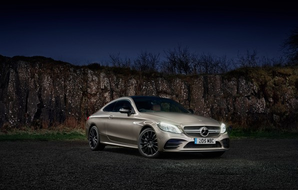 Picture car, machine, background, lights, Mercedes-Benz, Mercedes, Mercedes, drives, side, AMG, Mercedes-AMG C 43 Coupe, Mercede-Benz …