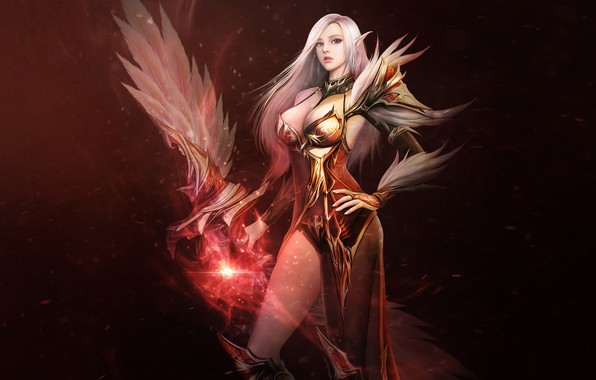 Picture Girl, Fantasy, Beautiful, Art, Asian, Magic, Armor, Glory, Eron Kim, Illust
