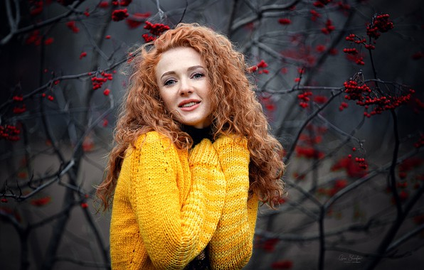 Picture autumn, smile, Girl, red, Kate, Rowan, Anna Shuvalova