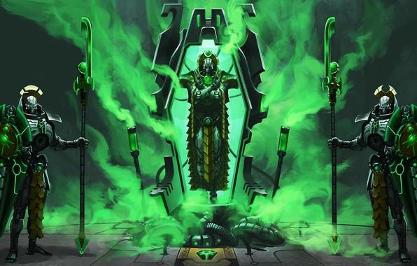 Picture Necrons, guards, awakening, Warhammer, necrons, Lord nekron, necron lord, Warhammer 40 000, lich guard