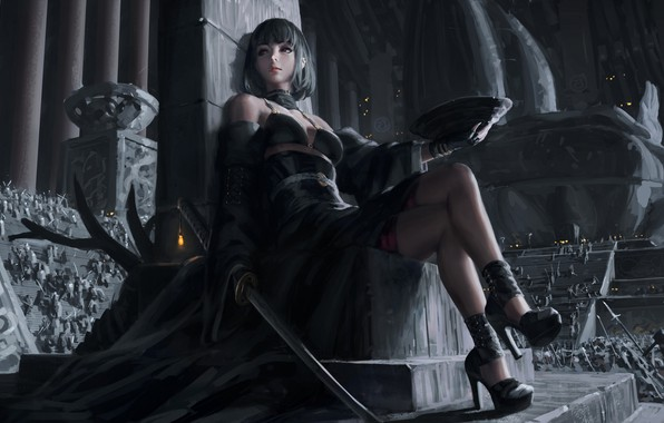 Picture dark, girl, sword, fantasy, dress, weapon, red eyes, katana, army, samurai, digital art, artwork, concept …
