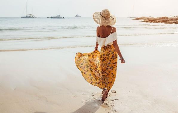 Picture sea, summer, girl, shore, back, skirt, hat