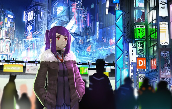 Picture girl, night, the city, future, fiction, neon, anime, art, cigarette, cyberpunk, red eyes, anime, art, …