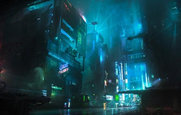Picture Night, The city, Future, Fiction, Neon, Cyberpunk, Cyberpunk, Neon, Chris Ostrowski, Block 7F-2, by Chris …