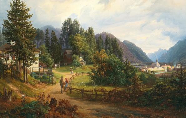 Picture 1851, Austrian painter, Austrian painter, A view of Bad Ischl, View of bad Ischl, Anton …