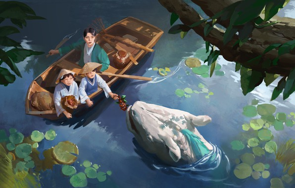 Picture fantasy, water, lake, dragon, artist, digital art, berries, artwork, boat, plants, fantasy art, children, creature, …