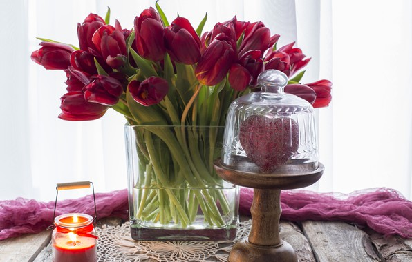 Picture love, heart, bouquet, tulips, red, red, love, wood, flowers, romantic, hearts, tulips, valentine's day