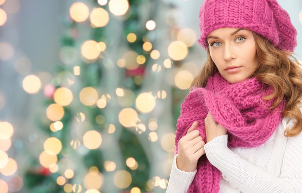 Picture look, girl, face, hat, scarf, New year, bokeh