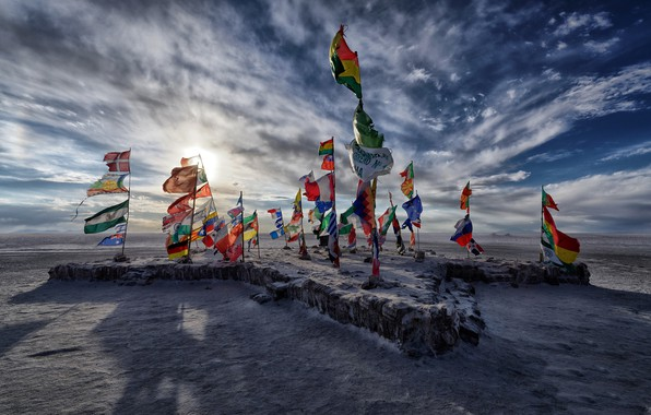 Picture lake, Salar de uyuni, salt, Flags, Bolivia
