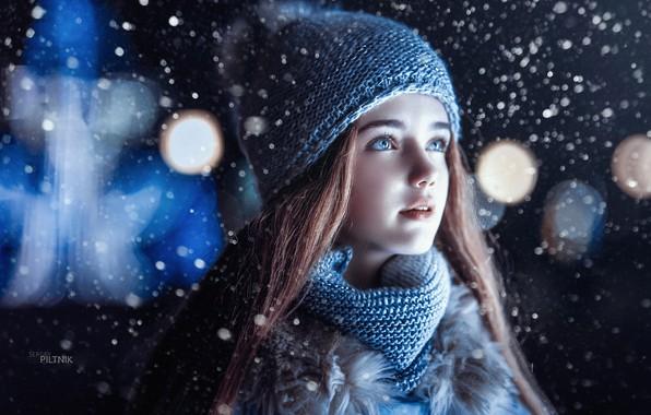 Picture winter, look, snow, hat, girl, Sergey Piltnik