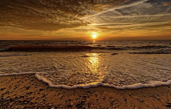 Picture sea, foam, sunset, shore, wave