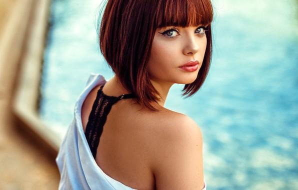 Picture look, model, portrait, pool, makeup, hairstyle, brown hair, beauty, bokeh, sexy, Fabien Mir, Marie Grippon