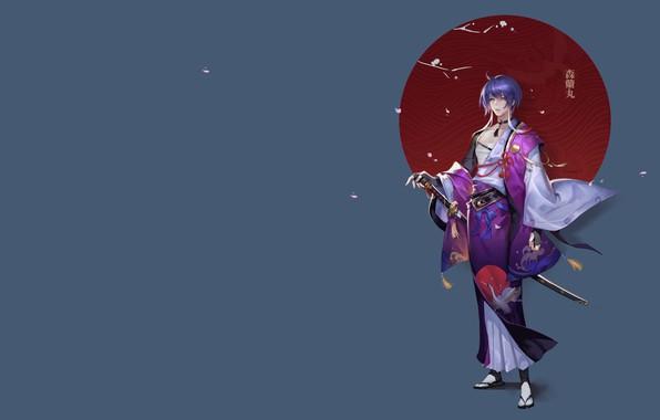 Picture katana, anime, petals, Sakura, art, Santic, Universal large nautical, Zhongfeng Lee