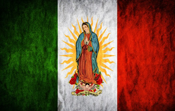 Picture rose, Mexico, flowers, sun, flag, Madonna, Maria, Regina Mundi, Saint Mary, Virgin of Guadalupe