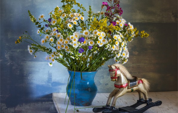 Picture summer, toy, bouquet, horse