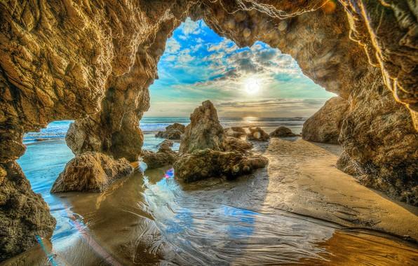 Picture sand, sea, beach, the sky, the sun, clouds, stones, rocks, coast, HDR, horizon, CA, USA, …