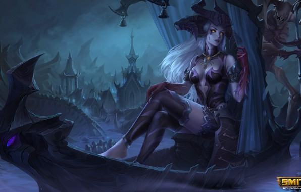 Picture girl, night, the city, boat, MAG, sitting, Persephone, Smite