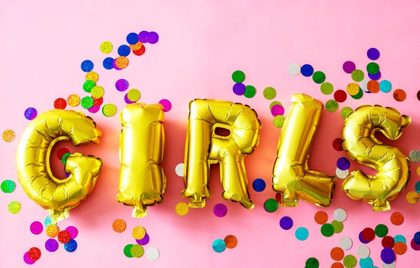 Picture balls, letters, the inscription, girls, confetti