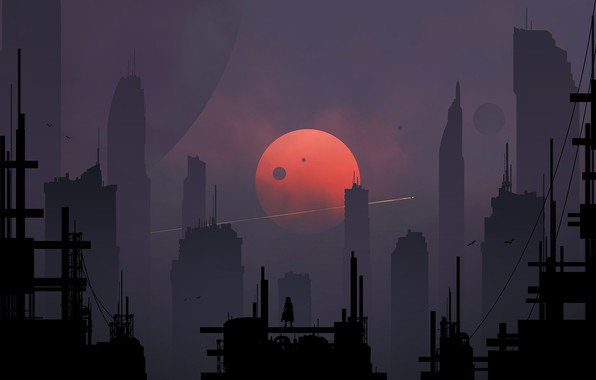 Picture The city, The moon, Silhouette, Skyscrapers, Art, Fiction, Digital Art, Sci-Fi, Skyscrapers, Satellites, Kvacm, Moons, …