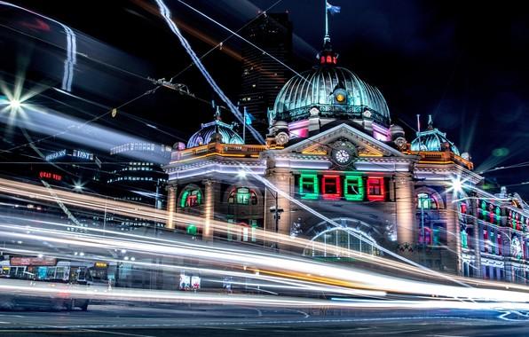 Picture city, lights, colorful, night, Melbourne, skyscraper, street, blur, Australia, buildings, architecture, bright, city street, city …