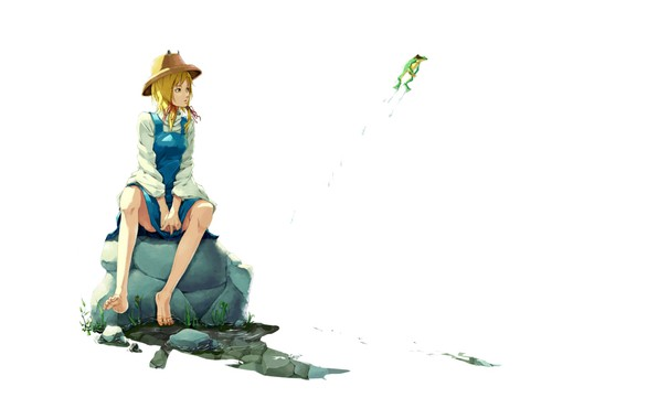 Picture drops, frog, hat, white background, sitting on a rock, barefoot, Touhou Project, Suwako Moriya, Project …