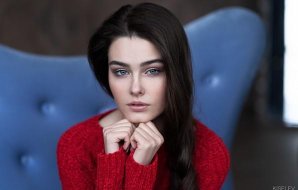 Picture look, pose, hair, portrait, Girl, hands, Alexander Kiselev, Bogdan Kudrycka