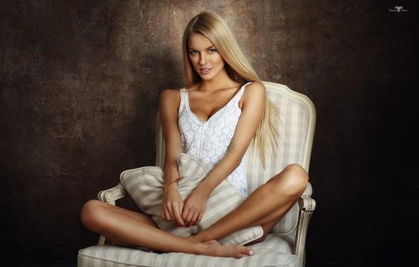 Picture Girl, chair, blonde, sitting, Dmitry Arhar, Alena Filinkova, Alena Filinkova