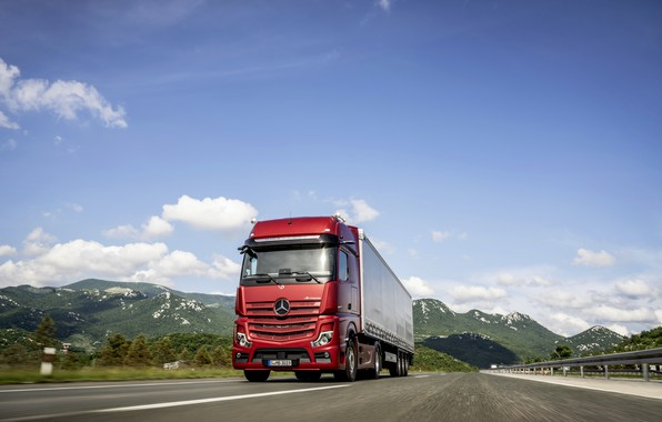 Picture red, Mercedes-Benz, track, tractor, 4x2, Actros, the trailer