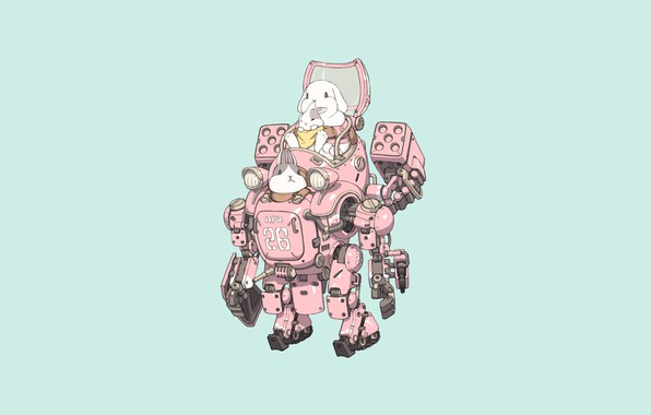 Picture Girl, Fantasy, Gun, Art, Robot, Style, Machine, baby, Illustration, Weapon, Minimalism, Armor, Bunny, Character, Rabbits, …